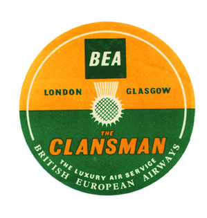 Baggage label for BEA, British European Airways. British European Airways.