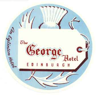Baggage label for George Hotel. George Hotel.