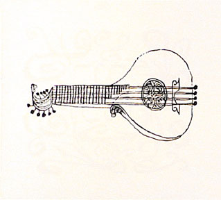 Lute, from the Hallelujah Miniatures No. 2 Suite without Calligraphy. Ben Shahn.