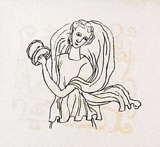 Maiden with Loud-Sounding Cymbals, from the Hallelujah Miniatures No. 2 Suite without Calligraphy. Ben Shahn.
