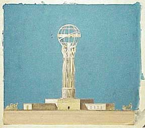 Monument to Democracy. Statue of Liberty in the Pacific. Design for Project at San Pedro, Port of Los Angeles. Millard Sheets.