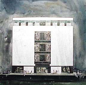 Design for a Monumental Building with Three Diptych Murals, Los Angeles, California. Millard Sheets.