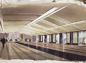 Design for a Large Hall with Mural and Piano. Millard Sheets.