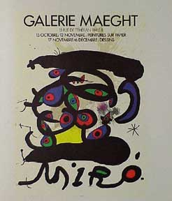 "Poster for the exhibition ""Peintures sur papier, dessins"" Joan Miró."
