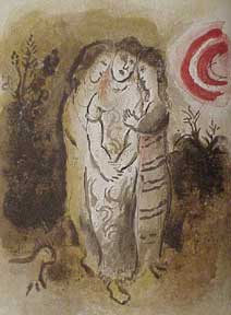 Naomi and her Daughters-in-law. Marc Chagall.