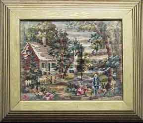 Boy in front of a landscaped abode. Needlepoint Artist.