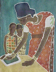 African woman instructing childen. Yvonne Browne.