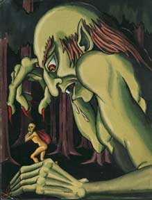 Green Giant Monster with Fearful Figure. Alexis Pencovic.