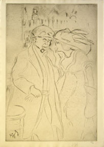 Le Chauffeur = [Man in driving attire smoking a pipe, with fashionably dressed woman]. Louis Legrand.