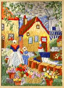 Dutch scene with maidens, windmill and flowers. Needlepoint Artist.
