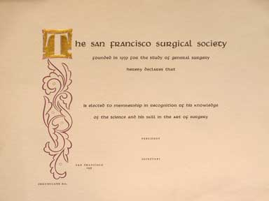 Blank Membership Certificate. Grabhorn Press, San Francisco Surgical Society.