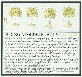 Spring Vegetable Soup from Thirty Recipes Suitable for Framing. David Lance Goines.