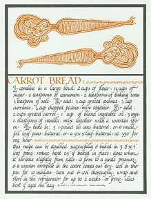 Carrot Bread from Thirty Recipes Suitable for Framing. David Lance Goines.