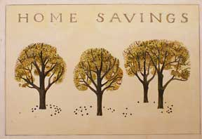 Trees. Design for entrance to Home Savings , Walnut Creek, CA (now Chase). Millard Sheets.