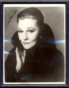 Autographed black and white publicity photograph of the second Mrs. de Winter, Joan Fontaine. Joan Fontaine.