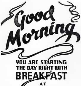 Good Morning, You Are Starting the Day Right with Breakfast at. Letterpress Metal Cut Artist.
