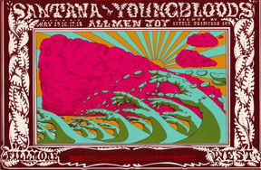 Postcard reproduction of psychedelic poster for a Santana and Youngbloods concert. Lee Conklin.