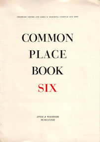 Prospectus for Common Place Book Six. Sherwood Grover, eds James D. Hammond.