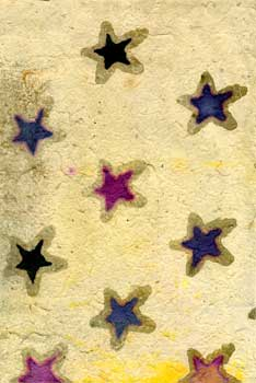 Handmade Paper and Collage with Stars. Nancy Welch.