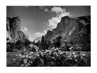 For Purple Mountains Majesty: A Pictorial Portfolio by Ansel Adams. Yosemite National Park, California. Presented by American Savings and Loan Association. Ansel Adams, American Savings, Loan Assoc.