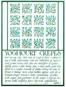 Yoghourt (i.e. yogurt) Crepes from Thirty Recipes Suitable for Framing. David Lance Goines.