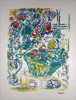 Still Life with Flowers and Fruit. Marc Chagall.