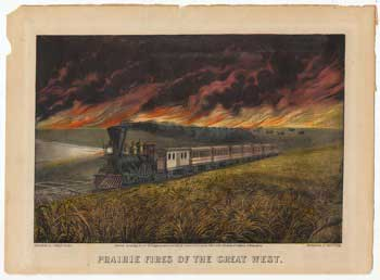 Prairie Fires of the Great West. Currier, Ives.