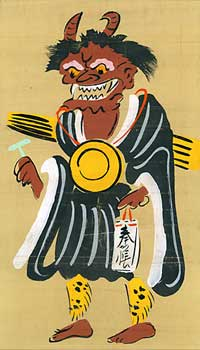 Praying Goblin dressed as a Buddhist Priest. (Oni no nenbutsu). Otsu-e Artist.