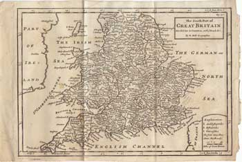 The South Part of Great Britain Divided into its Counties, with Roads &c. H. Moll.
