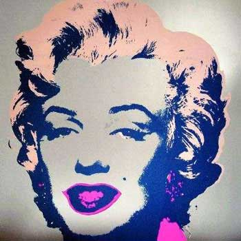 Marilyn Monroe 1967 in Gray, Peach Pink, Indigo and Rose. Andy Warhol, After.