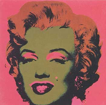 Marilyn Monroe 1967 in Carmine, Rust, Olive Green and Black. Andy Warhol, After.