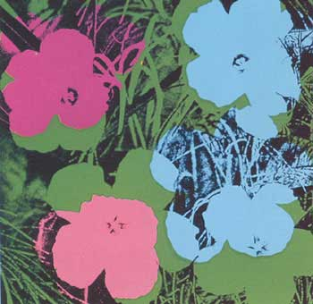 Flowers 1970 in Grass Green, Sky Blue, Rose, Rose Pink and Black. Andy Warhol, After.