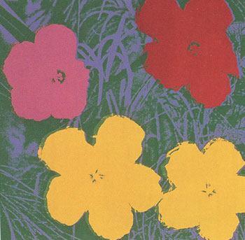 Flowers 1970 in Meadow Green, Wisteria Blue, Chrome Yellow and Wine Red. Andy Warhol, After.