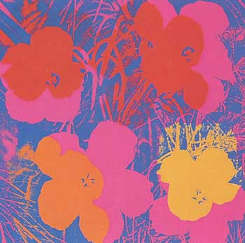 Flowers 1970 in Wisteria Blue, Carmine, Crimson, Carrot Red and Chrome Yellow. Andy Warhol, After.