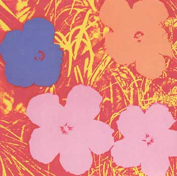 Flowers 1970 in Crimson, Buttercup Yellow, Salmon, Rose Pink and Wisteria Blue. Andy Warhol, After.