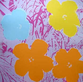 Flowers 1970 in Lilac, Purple, Orange, Buttercup Yellow and Sky Blue. Andy Warhol, After.
