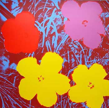 Flowers 1970 in Flax Blue, Wine Red, Rose Pink, Crimson and Buttercup Yellow. Andy Warhol, After.