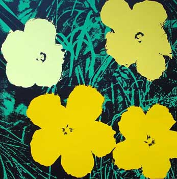 Flowers 1970 in Ming Green, Chartreuse, Buttercup Yellow, Old Gold and Black. Andy Warhol, After.