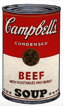 Campbell's Soup I 1968. Beef with Vegetables and Barley. Andy Warhol, After.