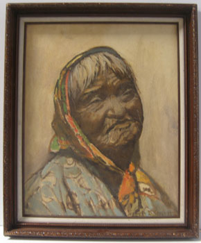 Old Indian Basket Weaver or Ramona - Basket Weaver. Joseph Hastings Bennett.
