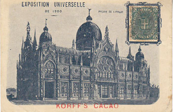 Korff's Cacao Advertising Postcard for Exposition Universelle de 1900. F. Korff, Co, Amsterdam.
