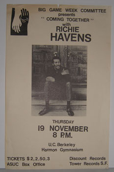 "Big Game Week Presents ""Coming Together"" with Richie Havens, November 19, 1971. Big Game Week Committee, Berkeley University of California."