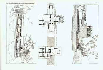 The house of Isabel Roberts in River Forest, Illinois. Study for a summer house for Mr. E. C. Waller at Charlevoix. 1908-09 (sic). Plate LI. Frank Lloyd Wright.
