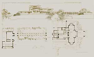 Dwelling for Victor Metzger, Sault Ste. Marie, Michigan. Perspective view and ground plan, 1902. Pl. IX. Frank Lloyd Wright.