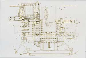 Design for summer residence of Harold McCormick at Lake Forest, Illinois. Ground plan, 1907. Pl. LVIII. Frank Lloyd Wright.