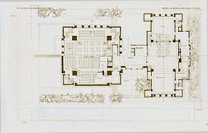 House and temple for Unity Church, Oak Park, Illinois. Ground plan, 1906. Pl. LXIV. Frank Lloyd Wright.