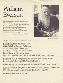 Announcement for William Everson: A Tribute in Honor of His 75th Year. William Everson.