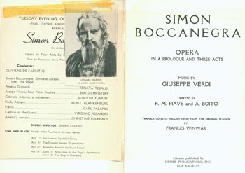 Simon Boccanegra. Opera In a Prologue and Three Acts. San Francisco Opera Association. Giuseppe Verdi, F. M. Piave, A. Boito, Frances Winwar, libr., transl.