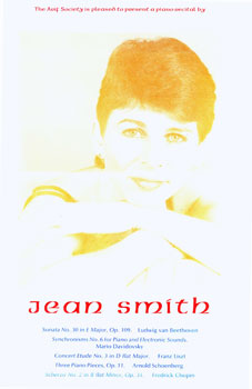 The Arif Society Is Pleased to Present a Piano Recital by Jean Smith. The Arif Society, Wesley B. Tanner, des/print.