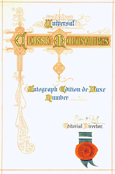 Universal Classic Manuscripts: Facsimiles From Originals in the Department of Manuscripts, British Museum. Title Page, Table of Contents, Page Signed & Numbered, & Introduction. George Frederic Warner, Stanislaus Murray Hamilton, Oliver H. Leigh, intr.